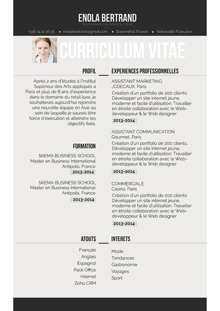 cv moderne design et simple