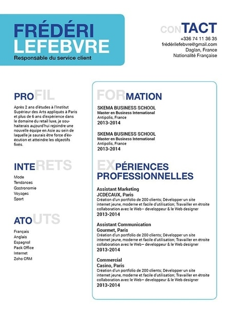 modele cv etudiant simple